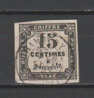 FRANCE / 1863-1870 / Y&T TAXE N° 3 : Taxe à Percevoir (typographie) 15c Noir - Choisi - Cachet Rond - Postage Due