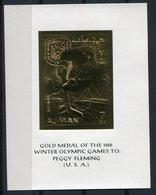 RC 9434 AJMAN JEUX OLYMPIQUES DE GRENOBLE 1968 GOLD MEDAL PEGGY FLEMING USA BLOC FEUILLET NEUF ** TB - Adschman