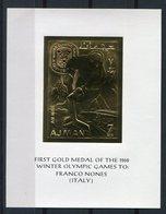 RC 9435 AJMAN JEUX OLYMPIQUES DE GRENOBLE 1968 GOLD MEDAL FRANCO NONES ITALY BLOC FEUILLET NEUF ** TB - Ajman