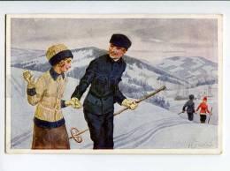 3037720 SKIING In Love Pair Of Skiers By.. Vintage PC - Postcards