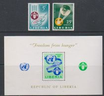 Liberia 1963 Freedom From Hunger 2v + M/s ** Mnh (39220A) - Liberia