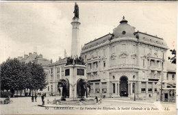 CHAMBERY - La Fontaine Des Eléphants  - La Société Générale Et La Poste   (107461) - Chambery