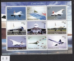 Eritrea 2002 Sheetlet/9 Concorde.  MNH - Concorde