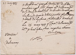 Small 25 May 1777 Signed French Document, Stamped On The Back.  Can Anyone Help?   Ref 0539 - Autographs