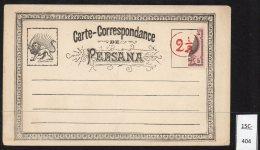 Persia Iran 1878 Entire Postal Stationery Card – Provisional 2½ch On Half 5ch Adhesive – RARE. Unused - Iran