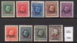 Slovenia / Italia Provincia Di Lubiana WWII Issue : Set/9 USED Marca Da Bollo Fiscal / Revenue – 10c-10 Lire - Slovenia