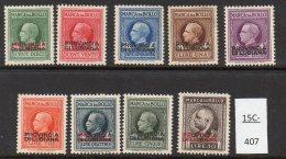 Italian Occ Of Slovenia  Italia Provincia Di Lubiana WWII Issue: Set/9 MINT Marca Da Bollo Fiscal /Revenue - 10c-10 Lire - Slovenia