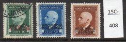 Italian Occ Of Slovenia /Italia Provincia Di Lubiana WWII Set/3 USED Marca Da Bollo Fiscal /Revenue – 10c 50c 1L ( - Slovenia