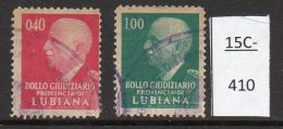 Italian Occ Of Slovenia /Italia Provincia Di Lubiana WWII Set/2 USED Marca Da Bollo Judicial Tax - Law - 20c 1L (2) - Slovenia