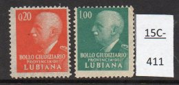 Italian Occ Of Slovenia /Italia Provincia Di Lubiana WWII Set/2 MNH Marca Da Bollo Judicial Tax Law – 20c 1L (2) - Slovenia