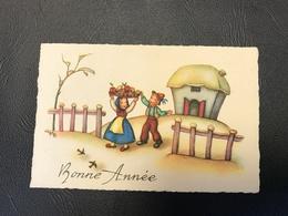 309 - BONNE ANNEE Enfants & Fruits Fond Maison - 1954 - Neujahr