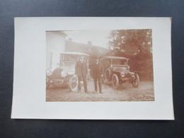AK / Echtfoto 1910 / 20er Jahre?! 2 Alte Autos / Oldtimer. Marke?? Frankreich?? - PKW