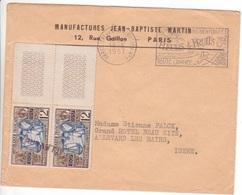 Lettre De PARIS Tri Et Distribution N°1 1957 Timbres Cour Des Comptes Annulés à L'arrivée Griffe Linéaire ALLEVARD Isère - Marcofilie (Brieven)