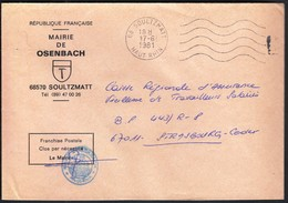 France Soultzmatt 1981 / Mairie De Osenbach / Coat Of Arms - Postmark Collection (Covers)