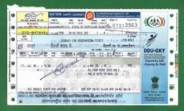 India 2018 - Indian Railway , Jaipur -  12985 Double Decker Train Ticket , Jaipur To Delhi Sarai Rohilla - As Scan - Chemins De Fer