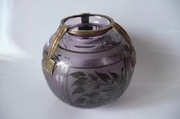 ART DECO - Vase Violet Au Feuillage Peint D'argent - Monture Bronze -Signé D'Argyl (val & Compagnie) - Glass & Crystal