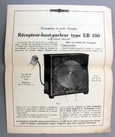 Description Mode D'emploi Recepteur Haut-parleur EB 100 LOEWE RADIO TBE - Vieux Papiers