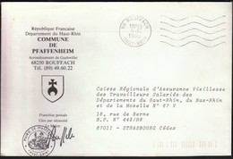 France Rouffach 1985 / Commune De Pfaffenheim / Coat Of Arms - Postmark Collection (Covers)