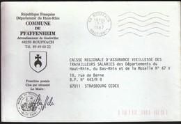 France Rouffach 1987 / Commune De Pfaffenheim / Coat Of Arms - Postmark Collection (Covers)