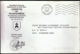 France Rouffach 1986 / Commune De Pfaffenheim / Coat Of Arms - Postmark Collection (Covers)