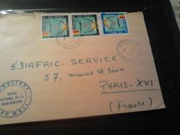 LETTRE  1972 Pour PARIS Utilisation Timbres De Services Pas Commun  Cachet Service National De La Main D'oeuvre - Mali (1959-...)