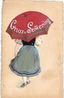 Autriche -  GRUSS V. SEMERING  (SEMMERING) Costume Traditionnel Et Parapluie En SOIE  -réhaussée PEINTURE à La MAIN-1911 - Semmering