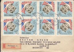 71606- JOHN GLENN, COSMONAUT, SPACE, STAMPS ON REGISTERED COVER, 1969, ROMANIA - Lettres & Documents