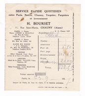 Petite Facture Service Rapide Quotidien H. Bourset, 11 Rue Saint-Martin, Chauny (Aisne), 1927 - Altri