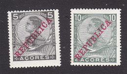 Azores, Scott #127-128, Mint Hinged, King Manuel II Overprinted, Issued 1910 - Azoren