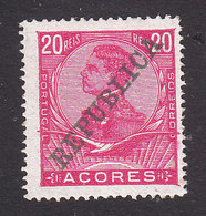 Azores, Scott #130, Mint Hinged, King Manuel II Overprinted, Issued 1910 - Açores