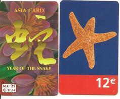 2-CARTES+-PREPAYEE-NL-TELE2/12€ ETOILE MER/NLG25-HORSCOPE CHINOIS ANNEE SERPENT-TBE-RARE - Netherlands