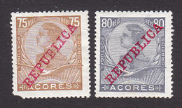 Azores, Scott #133-134, Mint Hinged, King Manuel II Overprinted, Issued 1910 - Açores