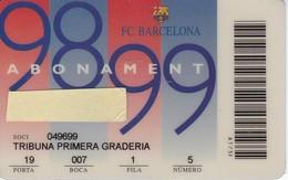 CARNET DE SOCIO DE FUTBOL CLUB BARCELONA AÑO 1998-99 TRIBUNA (FOOTBALL) BARÇA (LA CAIXA) - Tarjetas Telefónicas