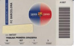 CARNET DE SOCIO DE FUTBOL CLUB BARCELONA AÑO 1990-00 TRIBUNA (FOOTBALL) BARÇA (LA CAIXA) - Tarjetas Telefónicas
