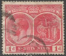 St Kitts-Nevis. 1921-29 KGV. 1d Used. Mult Script CA W/M SG 38 - St.Christopher-Nevis-Anguilla (...-1980)