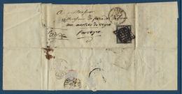 France, N° 3 Sur Lettre D'Agen, ( 20 C Noir 4 Filets Intacts ) - Marcophilie (Lettres)