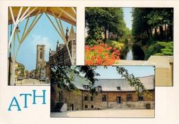 Ath Le Beffroi La Petite Dendre Château Burdant (stempel: Footing Club Ostiches) Zegel Met Vignet - Ath