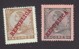 Azores, Scott #135-136, Mint Hinged, King Manuel II Overprinted, Issued 1910 - Azoren