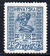 YUG15C - YUGOSLAVIA 1918 Em.per La Croazia . Unificato N. 53  *  Abrasione In Alto - Usati
