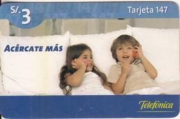 PERU - Children On Phone, Telefonica Prepaid Card S/.3, Exp.date 19/01/07, Used - Peru