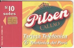 PERU - Pilsen Beer, Telefonica Telecard, Chip Siemens 30, 10/98, Used - Peru