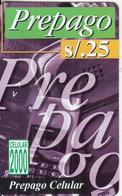 PERU - Prepago(violet), Celular 2000, BellSouth Prepaid Card S/. 25(thin Plastic, Reverse 2), Exp.date 12/99, Used - Peru