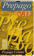 PERU - Prepago(yellow), Celular 2000, BellSouth Prepaid Card S/. 15(thick Plastic), Exp.date 06/00, Used - Peru