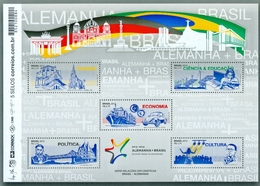 BRAZIL 2013 -  BRASIL AND GERMANY  DIPLOMATIC TIES  -  S/S With 5 Stamps - Brasil
