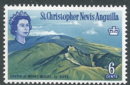 St Kitts-Nevis. 1963-69 QEII. 6c MH. Upright Block CA W/M. SG 135 - St.Christopher-Nevis-Anguilla (...-1980)