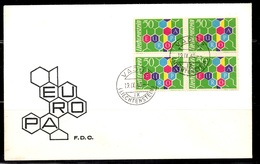 Liechtenstein Europa 1960 En Bloc De 4 Oblitérés Sur FDC. TB. A Saisir! - Lettres & Documents