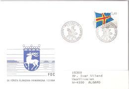 Åland Aland 1984 Flag Of Åland Mi 4, Cover  FDC - Aland