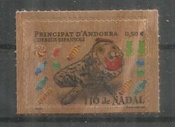 ANDORRA. Timbre En Bois.Tio De Nadal, (gateau Bûche De Noël)  Neuf  ** Année 2017 (Wood Paper Stamp) - Unused Stamps