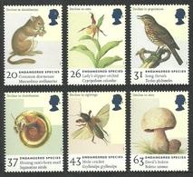 GB 1998 ENDANGERED SPECIES DORMOUSE BIRD THRUSH FLOWERS ORCHID FUNGI SET MNH - 1952-.... (Elizabeth II)