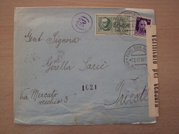 ISTRIA CROAZIA  STORIA POSTALE ESPRESSO DA FIUME CON AL RETRO ANNULLO FERROVIARIO RARO  MESS. FIUME TRIESTE TURNO 11 - 1900-44 Victor Emmanuel III
